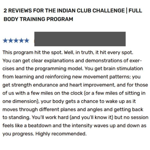 Indian club challenge review