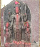 Club swinging statue of Vishnu