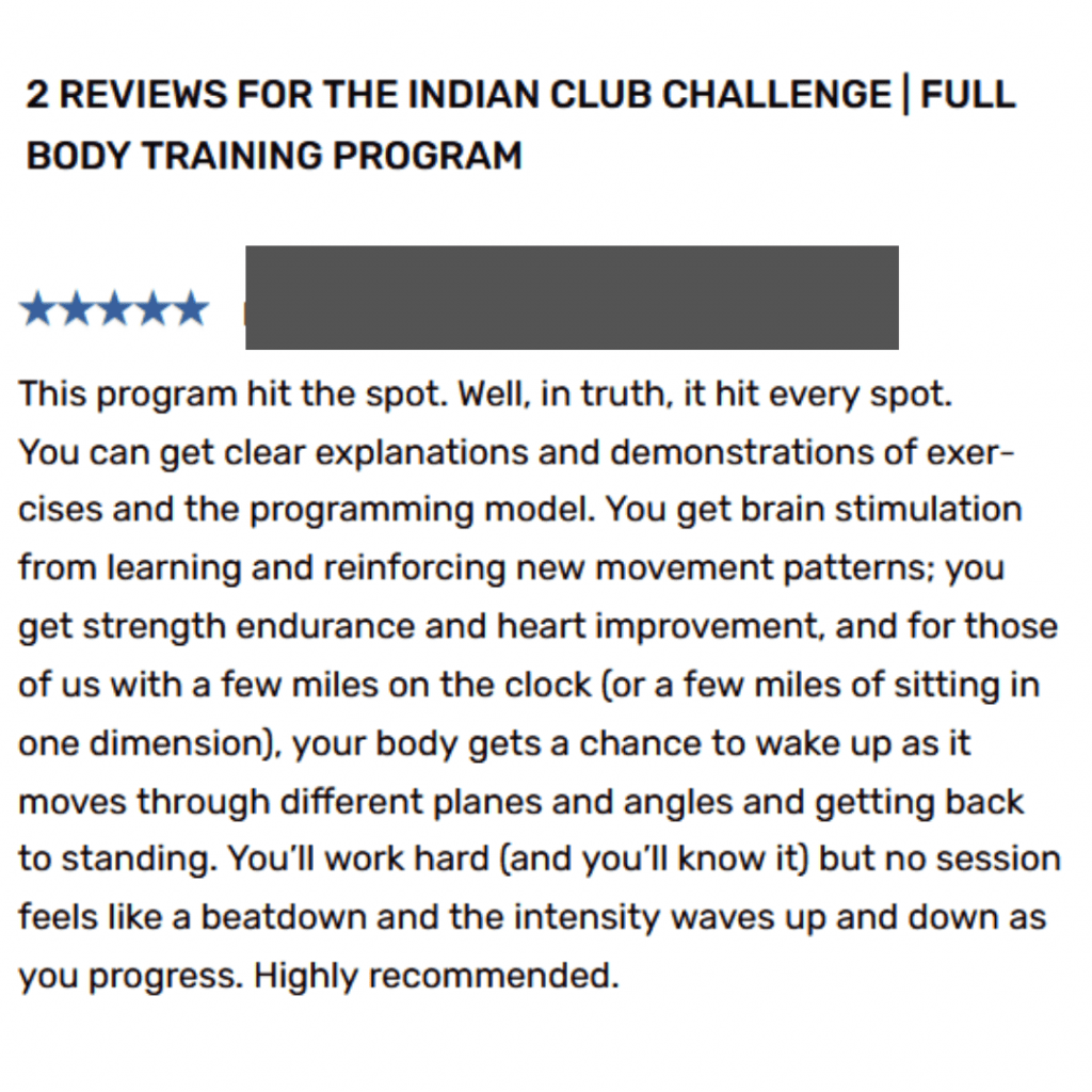 Indian clubs program review
